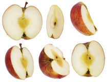 Set of the cut ripe apples Royalty Free Stock Photos