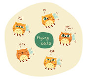 Set of cute abstract flying cats Royalty Free Stock Photo