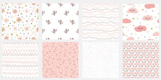Set of cute abstract hand drawn pink seamless patterns Stripes flowers cloud cactus points vector background. Set of cute abstract hand drawn pink seamless stock illustration