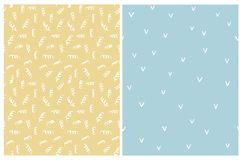 Set of 2 Cute Abstract Vector Patterns. White Springs and Approve Signs on a Yellow and Blue Backgrounds. stock illustration