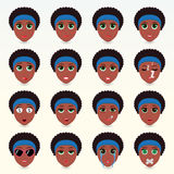 Set of cute african-american women emoticons. Royalty Free Stock Images