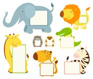 Collection of cute animal memo pads Royalty Free Stock Photo