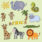 Set of cute african animals. Collection of adorable african animals.Illustration for kids stock illustration