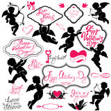 Set of cute angels, Calligraphic text Happy Valentine`s Day, hea Stock Photo