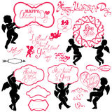 Set of cute angels, Calligraphic text Happy Valentine`s Day, hea Royalty Free Stock Image
