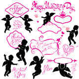 Set of cute angels, Calligraphic text Happy Valentine`s Day Stock Photos