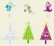 Set of cute angels and christmas trees Stock Photos