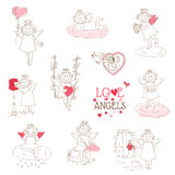 Set of cute Angels and Cupids Royalty Free Stock Photo