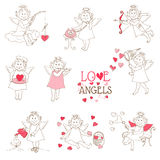 Set of cute Angels and Cupids Stock Photo