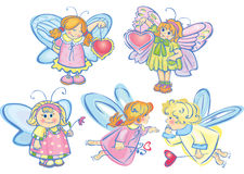 Set of cute angels for design Stock Photos