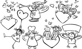 Set of cute  angels for design Stock Photography