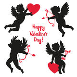 Set of cute angels. Silhouette of Cupids. Stock Images