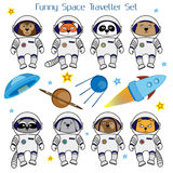 Set of cute animal astronauts, rocket, satellite, UFO and stars Royalty Free Stock Image