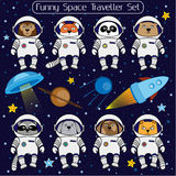 Set of cute animal astronauts, rocket satellite UFO stars cosmos Royalty Free Stock Photos