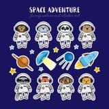 Set of cute animal astronauts, rocket satellite UFO stars cosmos Royalty Free Stock Images