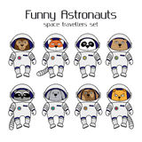 Set of cute animal astronauts in space suits Royalty Free Stock Photography
