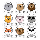 Set of cute animal avatars in circles Stock Photo