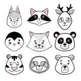 Set of cute animal faces black, white. panda, sloth, squirrel, raccoon, penguin, kitty, tiger deer, bear in scandinavian style. de Royalty Free Stock Photo