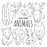 Set of cute animal faces. Vector sketch style doodle illustration.  Royalty Free Stock Photography