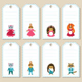 Set of cute animal gift tags royalty free stock images