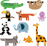 A Set of Cute Animal Icons. A colorful set of cute cartoon animals Stock Image