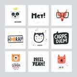 Set Of Cute Animal Icons. Set of cute animal faces. Vector illustration made by hand. Cartoon characters for kids, toddlers and babies fashion royalty free illustration