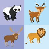 Set cute animal and natural wildlife. Vector illustration Stock Images