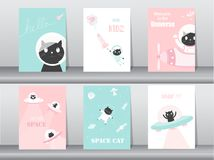 Set of cute animals poster,template,cards,cats,cute,rocket,space,education,astronaut,galaxy,star,zoo,Vector illustrations Royalty Free Stock Photography