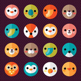 Set of cute animal smiley face stickers Royalty Free Stock Images