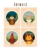 Set of cute animals cards. Vector illustration graphic design stock illustration