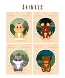 Set of cute animals cards. Vector illustration graphic design royalty free illustration