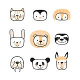 Set of cute animals. Character. Vector. Cute animals. Character. Vector. African cheerful animals stock illustration