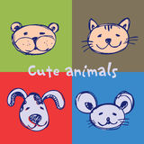 Set cute animals Stock Photography