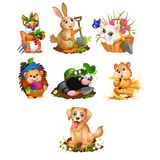 Set of cute animals and harvest ripe vegetables and fruits isolated on white background. Vector cartoon close-up vector illustration