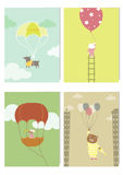 Set of cute animals in hot air balloons, kids design ,Vector illustrations Royalty Free Stock Image