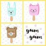 Set of cute animals ice cream Eskimo. Hand-written inscription yum-yum. Stock Image