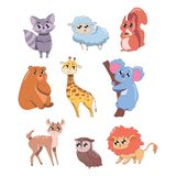 Set of cute animals isolated on white background. Cute wildlife animals vector illustration