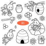 Set of cute animals and objects, vector family of bees. Black and white set with characters bees, beehives and honey Royalty Free Stock Photos