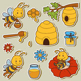 Set of cute animals and objects, vector family of bees. Color stickers with characters bees, beehives and honey Royalty Free Stock Photography