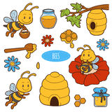 Set of cute animals and objects, vector family of bees. Color stickers with characters bees, beehives and honey Stock Image