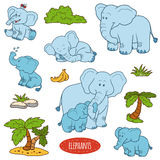 Set of cute animals and objects, vector stickers, family of elep. Color set of cute animals and objects, vector stickers, family of elephants Royalty Free Stock Image
