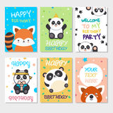 Set of cute animals poster. Cute Happy birthday greeting card for child fun cartoon style There are birthday gifts funny animals Royalty Free Stock Image