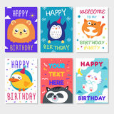 Set of cute animals poster. Cute Happy birthday greeting card for child fun cartoon style There are birthday gifts funny animals Stock Photo