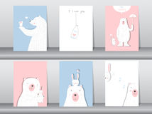 Set of cute animals poster,Design for valentine`s day ,template,cards,bear,Vector illustrations Royalty Free Stock Images