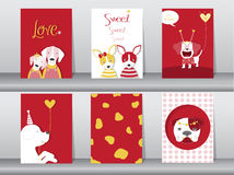 Set of cute animals poster,Design for valentine`s day ,template,cards,dogs,Vector illustrations Royalty Free Stock Image