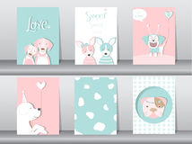 Set of cute animals poster,Design for valentine`s day ,template,cards,dogs,Vector illustrations Royalty Free Stock Photo