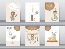Set of cute animals poster,template,cards,bear,cat,wolf,bird,rat,deer,zoo,Vector illustrations Royalty Free Stock Images