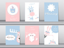 Set of cute animals poster,template,cards,bear,rabbit,giraffe,deer,zoo,Vector illustrations Royalty Free Stock Photography