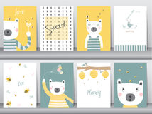Set of cute animals poster,template,cards,bear,Vector illustrations Royalty Free Stock Photography