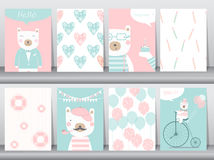 Set of cute animals poster ,template,cards,bear,Vector illustrations Royalty Free Stock Photo